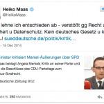 Vorratsdatenspeicherung ?! Und nun, Herr Maas?